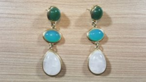 Brincos Cristal de Quartzo verde, Cristal de Ágata azul e Cristal de Quartzo Branco 3/6,7cm Happy Days