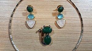Conjunto Joias Gato Colar Gargantilha Choker e Brincos Pedra Quartzo Rosa, Ágata Verde e Azul Céu Amazon