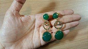 Brincos Cristal de Ágata verde 2/6,7cm Amazon