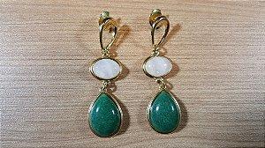 Brincos Cristal de Quartzo verde e Cristal de Quartzo rosa 2/6,7cm Amazon