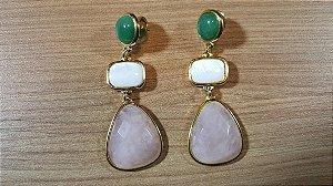 Brincos Cristal de Quartzo verde, Madrepérola e Quartzo rosa fac 3/7,2cm Amazon