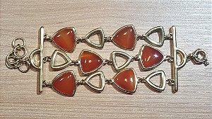 Pulseira Cristal de Ágata vermelho vivo Tripla Triângulos Happy Days