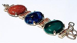 Pulseira de Cristal Ágata verde, Sodalita e Pedra do Sol Scandal
