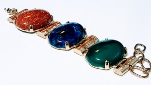 Pulseira Bracelete Pedra Ágata Verde, Sodalita e Pedra do Sol Scandal