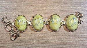 Pulseira Howlita amarela Maxi Oval Amazon