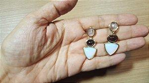 Brincos Cristal de Ametista, Obsidiana Vulcânica fumê e Opalina 3/4,1cm Princess Happy Days
