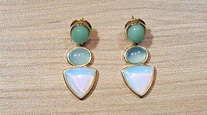Brincos Quartzo Verde, Ágata Azul Céu e Pedra da Lua Opalina 3/4,1cm Princess Blue Dreams