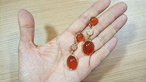 Brincos Cristal de Ágata vermelho e Zircônias 2/5,5cm Happy Days