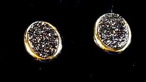 Brincos Cristal de Geodo de Rocha de Quartzo TiTãnio Oval