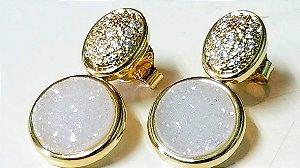 Brincos Quartzo Geodo ou Drusa Círculo e Cabochão