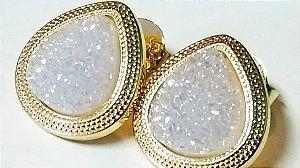 Brincos quartzo Geodo ou Drusa Gota Trabalhada