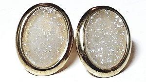 Brincos Cristal de Geodo de Rocha de Quartzo Natural Oval