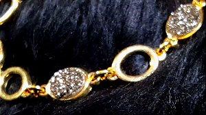 Pulseira  Cristal de Geodo de Rocha de Quartzo Titânio P