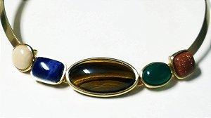 Gargantilha Cristal Amazonita Bege, Sodalita, Olho de Tigre, Ágata verde, Pedra do Sol Scandal