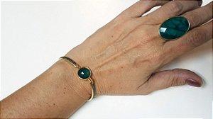 Pulseira Pedra Esmeralda Slim com Ródio Negro e Quartzo Cristal de Rocha Multifacetado Scandal