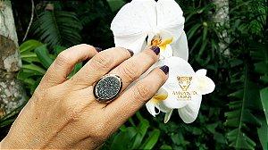 Anel Pedra Quartzo Geodo ou Drusa com Titânio Oval Exclusivo 11