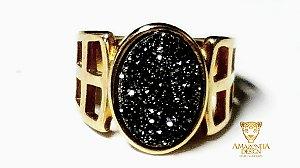 Anel Pedra Quartzo Geodo ou Drusa com Titânio Mini Exclusivo 14