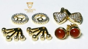 Conjunto Joias Mini Brincos Pedra Cores Diversas Dew Drops