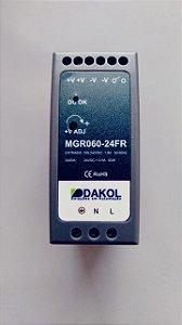 Fonte de alimentação chaveada, MGR060-24FR, 60W, 24Vcc, 2.5A