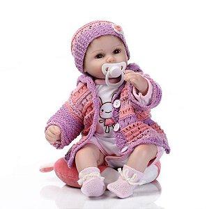 Bebê Reborn Menina Roupinha Crochê 40cm