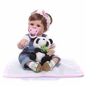 Bebê Reborn Menina Macacão 47cm