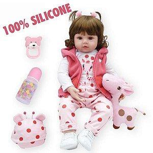 Bebê Reborn Boneca 100% Silicone Realista Linda 48cm