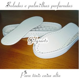 Solados e palmilhas perfuradas para croche para tênis caixa alta Cod 030 do 34 ao 40