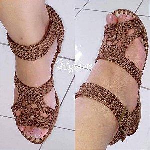 Sandália em crochê com solados antiderrapante do 34 ao 40