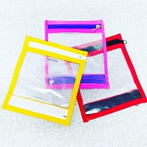 Porta máscara cores  lisas  Com 2 divisórias para guardar máscara limpas e sujas