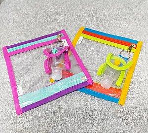 Porta máscara com 2 divisórias para guardar suas máscaras limpinha e sujinha com chaveiro Porta Álcool Gel