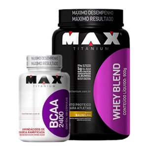Whey Blend 900g + BCAA 2400 - 100 cápsulas - Max Titanium val: 11/18