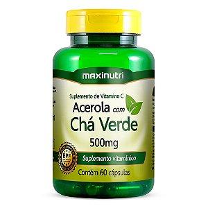 Acerola com Chá Verde 500mg - 60 cápsulas - Maxinutri