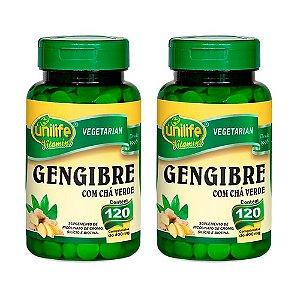 Gengibre com Chá Verde -  2 unidades de 120 Comprimidos - Unilife