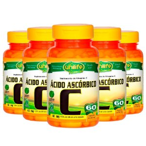 Vitamina C (Ácido Ascórbico) - 5x 60 Cápsulas - Unilife