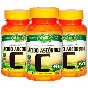 Vitamina C (Ácido Ascórbico) - 3x 60 Cápsulas - Unilife