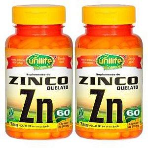 Zinco Quelato - 2 unidades de 60 Cápsulas - Unilife