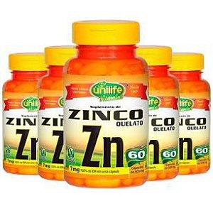 Zinco Quelato - 5 unidades de 60 Cápsulas - Unilife