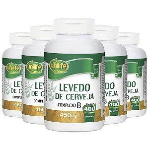 Levedo De Cerveja - 5 unidades de 400 Comprimidos - Unilife