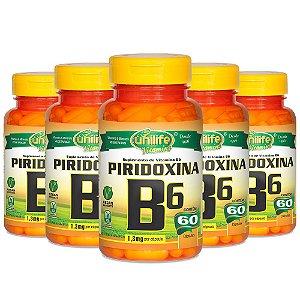 Vitamina B6 (Piridoxina) - 5 unidades de 60 Cápsulas - Unilife