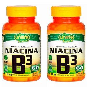 Vitamina B3 (Niacina) - 2x 60 Cápsulas - Unilife
