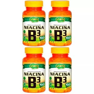 Vitamina B3 (Niacina) - 4x 60 Cápsulas - Unilife
