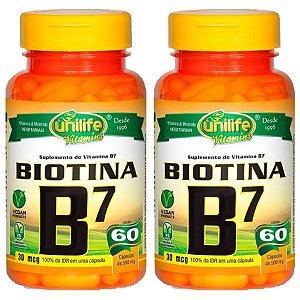 Vitamina B7 (Biotina) - 2 unidades de 60 Cápsulas - Unilife