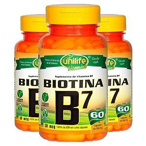 Vitamina B7 (Biotina) - 3 unidades de 60 Cápsulas - Unilife