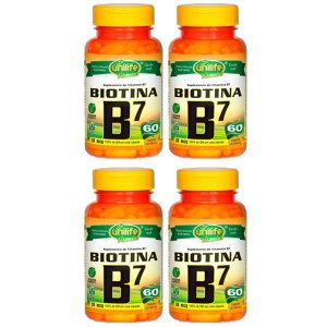 Vitamina B7 (Biotina) - 4 unidades de 60 Cápsulas - Unilife