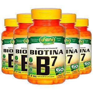 Vitamina B7 (Biotina) - 5 unidades de 60 Cápsulas - Unilife