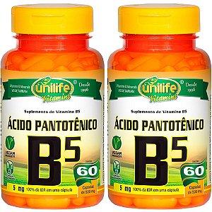 Vitamina B5 (Ácido Pantotênico) - 2x 60 Cápsulas - Unilife