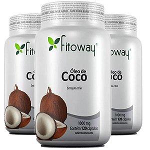 Óleo de Coco -  3x  120 cápsulas - Fitoway