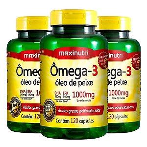 Ômega 3 - 3 unidades de 120 cápsulas - Maxinutri