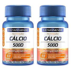 Cálcio 500 D - 2 unidades de 60 cápsulas - Catarinense