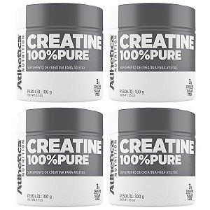 Creatina 100% Pure - 4 unidades de 100 Gramas - Atlhetica